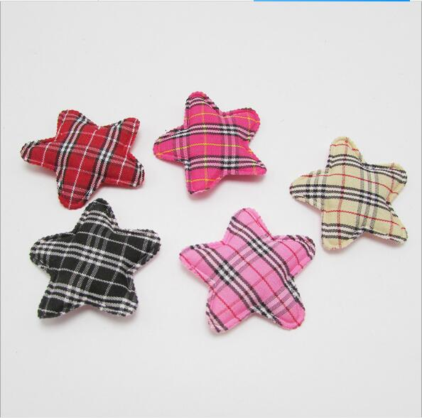 50pcs/lot sew on Gingham felt Star patches for clothes 4x4.8cm bear shape Padded applique for scrapbooking accessories