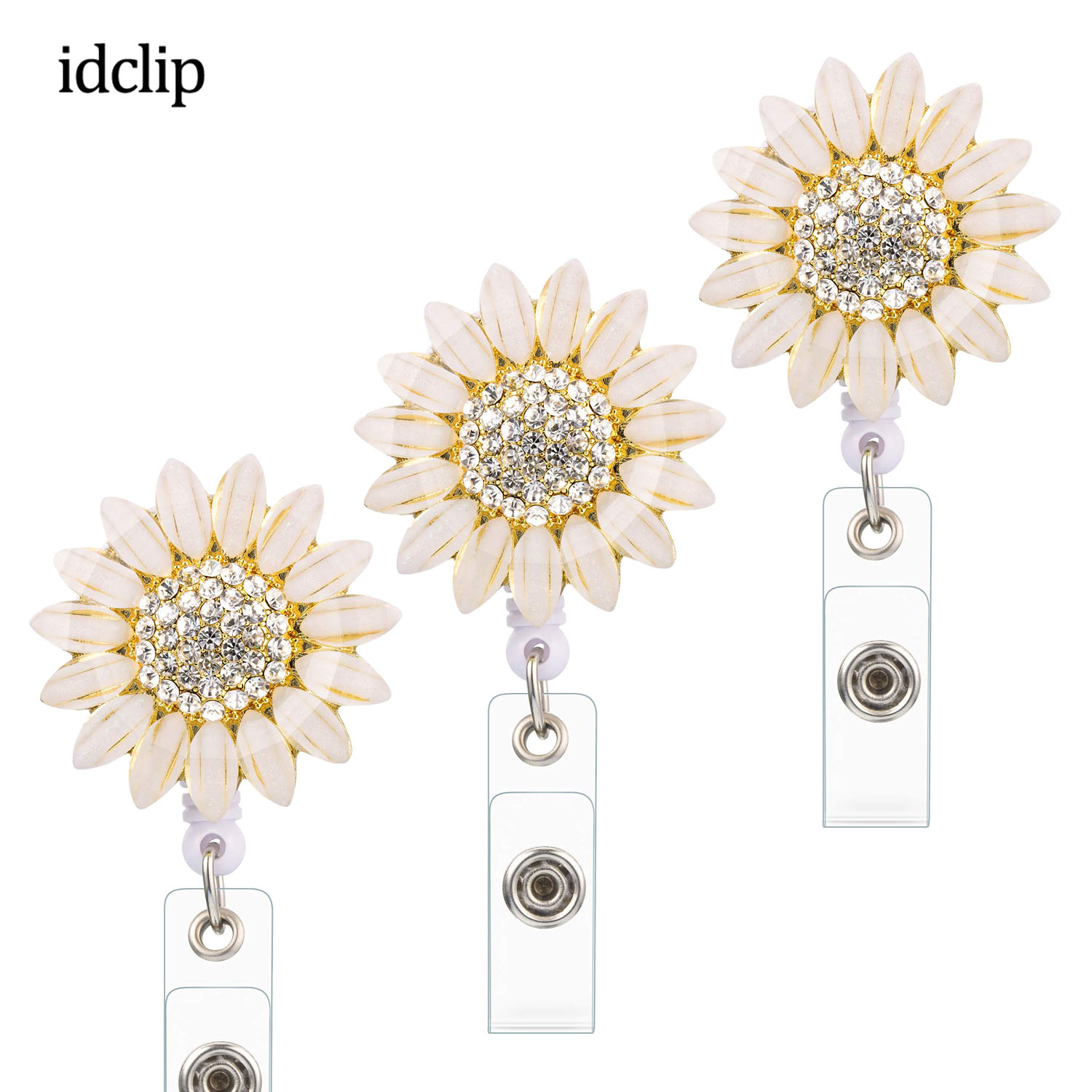 Idclip 3 Pieces Rhinestone Flower Retractable Badge Holder Reel ID Card Holder With Alligator Badge Clip