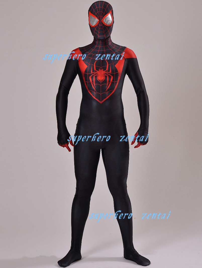 3D Print Into the Spider-Verse Miles Morales Cosplay Costume Lycra Halloween Spiderman Zentai Bodysuit for Adults Kids Men Boy