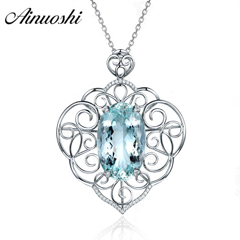 AINUOSHI 1ct Oval Cut Heart Pendant Necklace Pure 925 Sterling Silver Natural Sky Blue Topaz Link