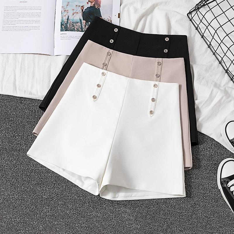 GUMPRUN White High Waist   Shorts   Women Summer 2019 New Wild Loose Slim Button Casual   Shorts   Ladies Office Black   Short