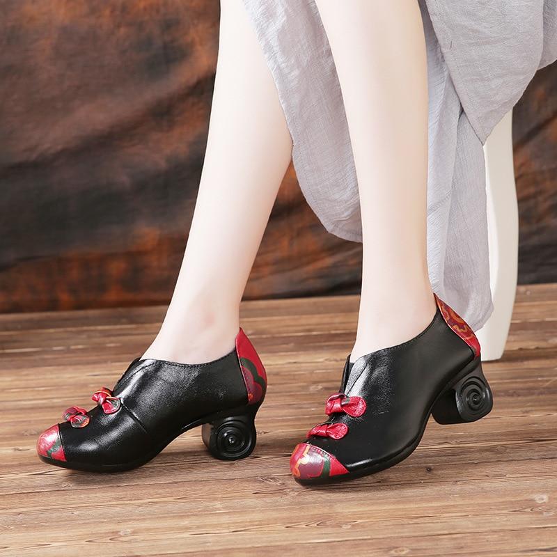 Mode Talons Bowknot Noir Impression Cm Profonde Vache Chaussures Printemps De Rétro Peu Cuir Hauts 2018 Élégant 5 Femmes Nouveau En Bouche w7gaqxn6Tt