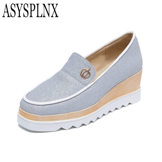 ASYSPLNX Sequin Cloth pink gold silver Skid platform women hombre shoes spring round toe casual work ladies Loafers flats