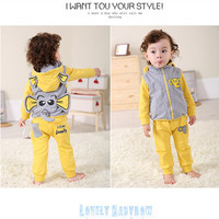 Anlencool Roupas Infantil Meninas free Shipping Brand Baby Clothes Sets Youngster Three piece Cotton Fabric Elephant Clothing