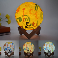 Indoor LED Night Light colorful 3D moon lamp letters table light touch remote switch home bedroom decor lighting with wood stand