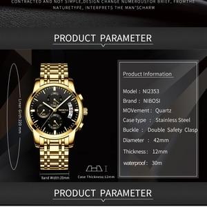 Image 2 - Часы наручные NIBOSI мужские с хронографом, спортивные деловые Кварцевые водонепроницаемые в стиле милитари, золотистые