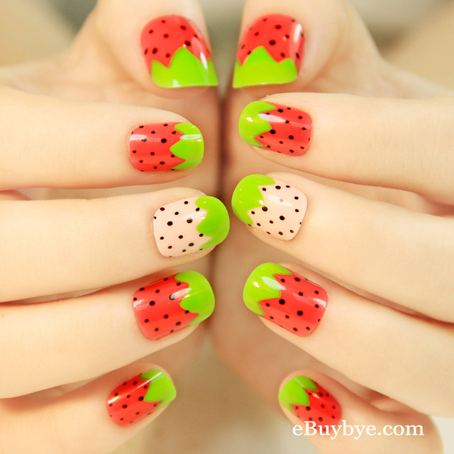 24pcs Strawberry Designed False Nails Pretty Woman Summer Holiday