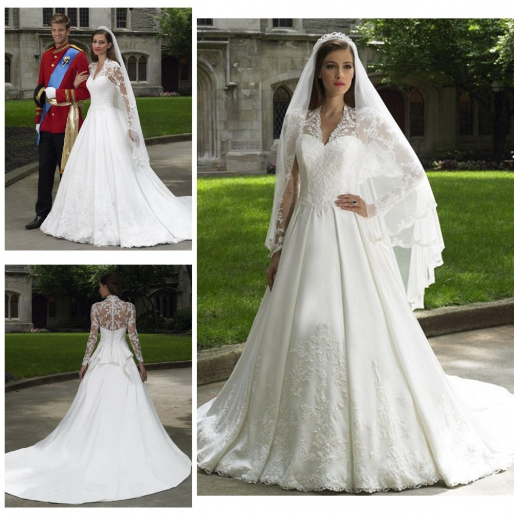 GlamorousV Neck Sheer Long Sleeve Kate Middleton Princess ...