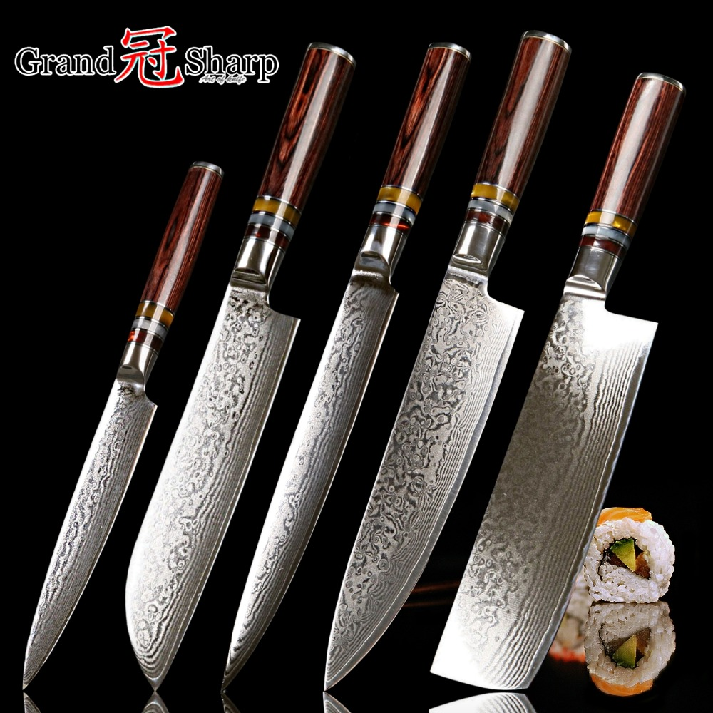 damascus knife set 5 pcs japanese vg10 steel damascus
