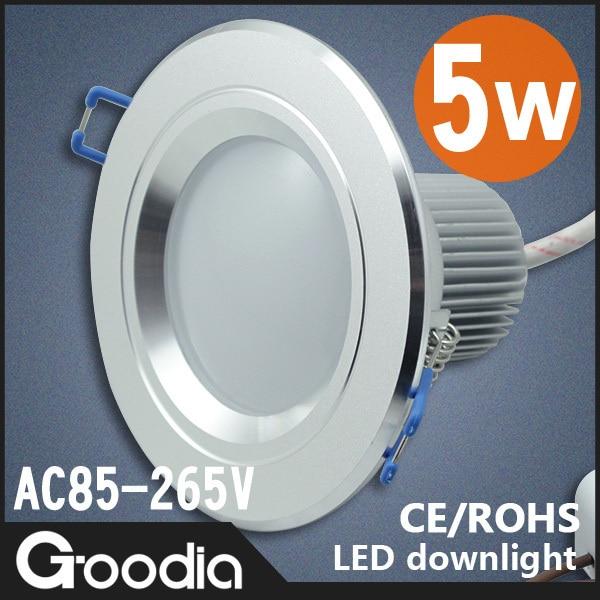 Goodia Hot sell.5w led down light,AC85-265V,restroom,bedroom,kitchen,Cool light / Warm light,10pcs/lot,Free Shipping