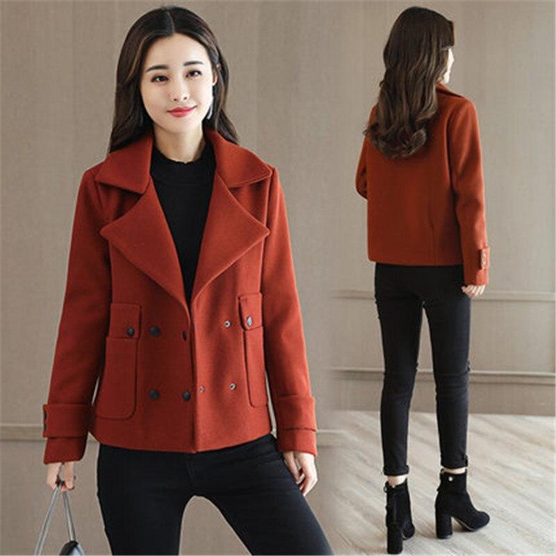 US $50.62 51% OFF|2017 nowa jesień i zima kobiet wełniana kurtka kobiet jednolity kolor elegancki krótki płaszcz lady wysokiej jakości wełniany