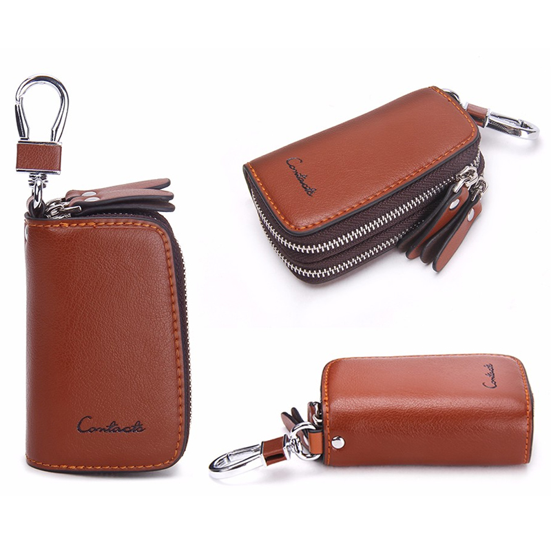 CONTACT'S Classic New Double Zip Men's Genuine Cow Leather Car Key Holder Multifunction Housekeeper  High Class Motor Key Case 2