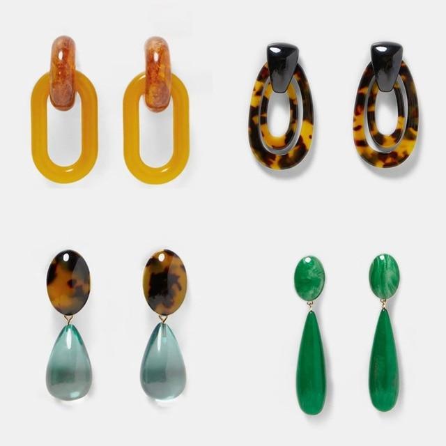 Best lady Fashion ZA Resin Drop Earring For Women Wedding Jewelry Boho Elegant Shiny Dangle Statement Earrings Christmas Gifts 3