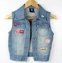 Women Denim Vest 2017 Casual Street Wear Cute Embroidery Patch Designs Polo Collar Blue Short Jeans Vest Colete Feminino 5049