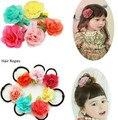 5 unids/lote tela de gasa Floral pinzas para el cabello cuerdas horquillas niños accesorios para el cabello