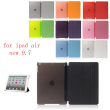 PC Leather Case for Apple iPad air new 9.7 Fashion Smart Cover + translucent back A1474`A1475`A1476`A1822`A1823