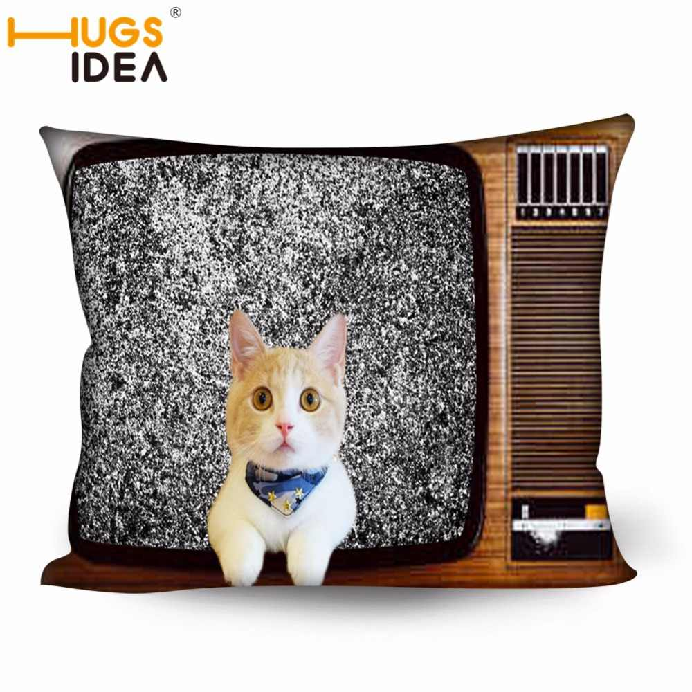 HUGSIDEA Funny Retro TV Cat Printing Throw Pillow Cases Home Bedroom Bed Pillow Covers Sleep Square Pillowcase Cushion Cover