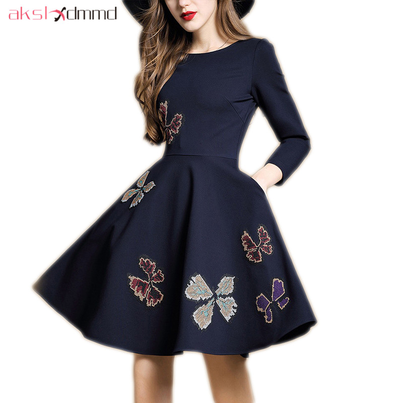 AKSLXDMMD Embroidered Butterfly Dress 2018 New Spring Casual O neck Nine sleeve A line Dresses Female Vestidos LH1366