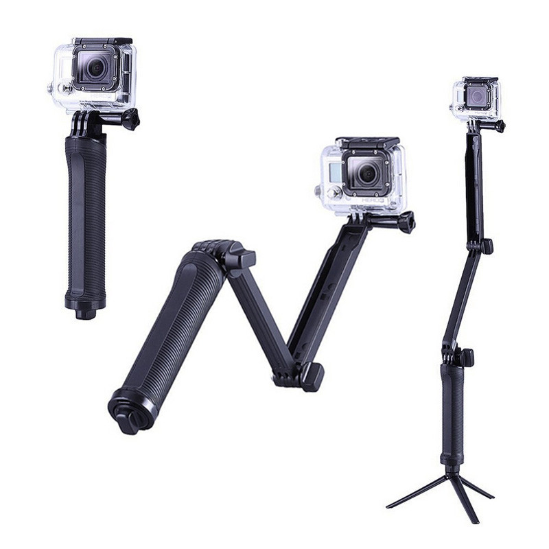 For 3Way Multi-function Folding Arm Lever Tripod Mount for GoPro Hero 5 4 SJ4000 Sjcam XiaoYi Camera Monopod Go Pro Accessories