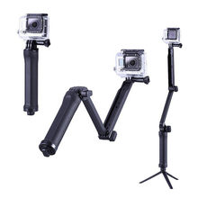For 3Way Multi-function Folding Arm Lever Tripod Mount for GoPro Hero 5 4 SJ4000 Sjcam XiaoYi Camera Monopod Go Pro Accessories(China)