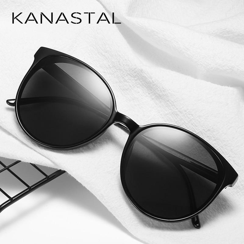 Kanastal Oval Sunglasses Polarized Sunglasses Vintage Lens Star Rivet Leg High Quality Sun Glasses Female Oculos de sol UV400