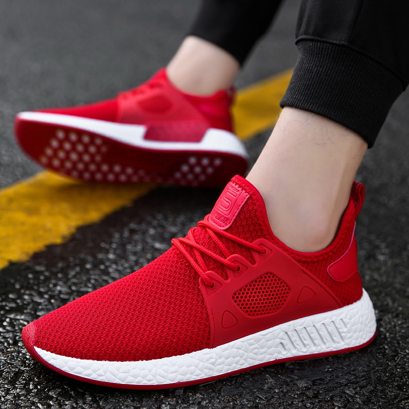 Hot Sale Popular Casual Shoes for Men High Quality Fashion Comfortable Brand Breathable Male Shoes Gray Red Black Sneakers Man