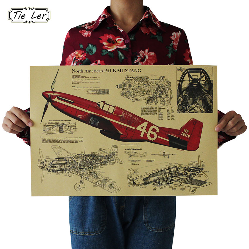 TIE LER Fighter Aircraft Structural Retro Poster Design Drawings Kraft Paper Mural Decoration Wall Sticker