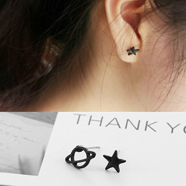 8d8c5ab09 E0128 Black Planet Star Stud Earrings For Women and Girls Asymmetric Stud  Earrings Hot Sale Fashion Jewelry Galaxy Accessories