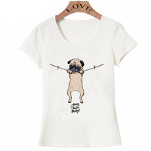 Summer fashion women's short sleeve Hang in there Frenchie dog T-Shirt beautiful pug design shirts casual Tops hipster girl Tee