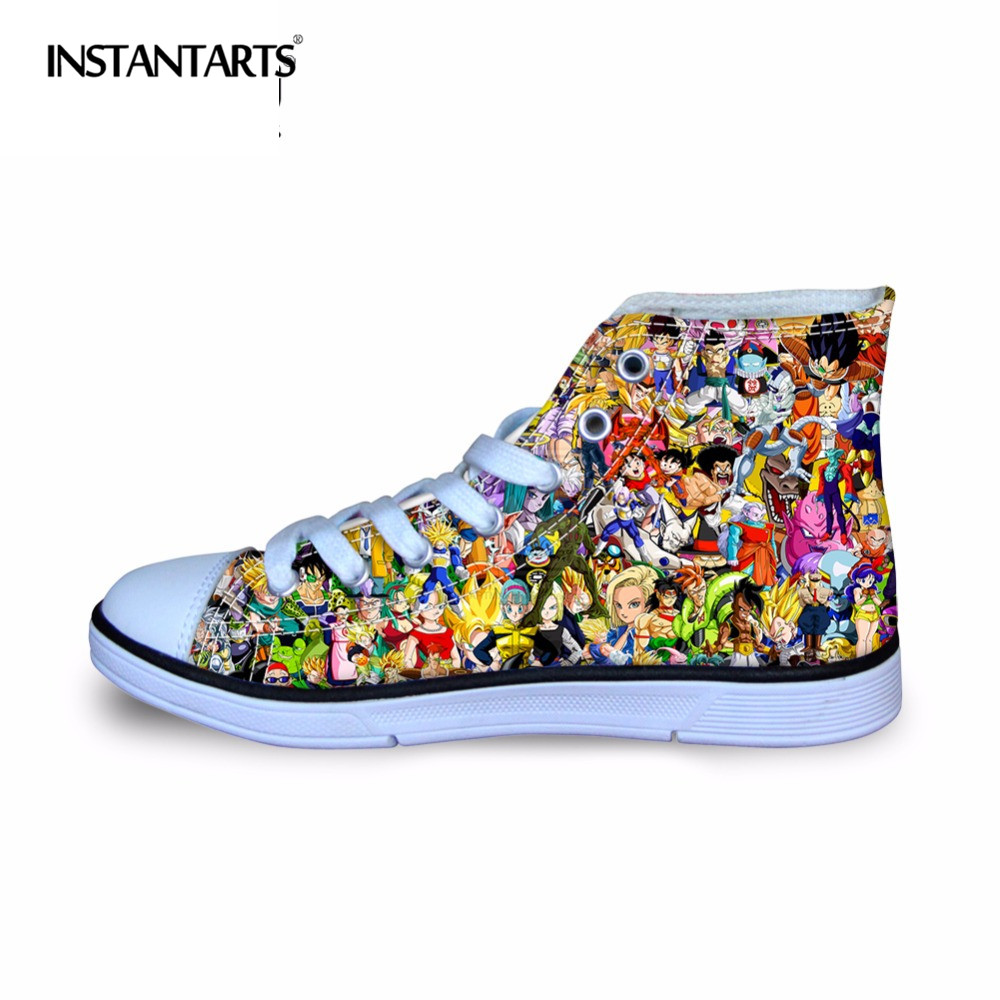 INSTANTARTS Enfants Mode Casual Chaussures Plates Lace Up Sneakers 3D Dragon Ball Z Motif Garçon Fille Vulcaniser High Top Toile chaussures