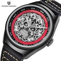 PAGANIDESIGN Top marque de luxe hommes classique 3D crâne Punk Style montres mécaniques étanche en cuir véritable montre automatique