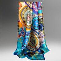 Квадратный шелковый шарф 90x90 см бандана для женщин 2019 Ханчжоу чистого шелка головные шарфы обертывания Дамский платок 100% настоящие шелковы...