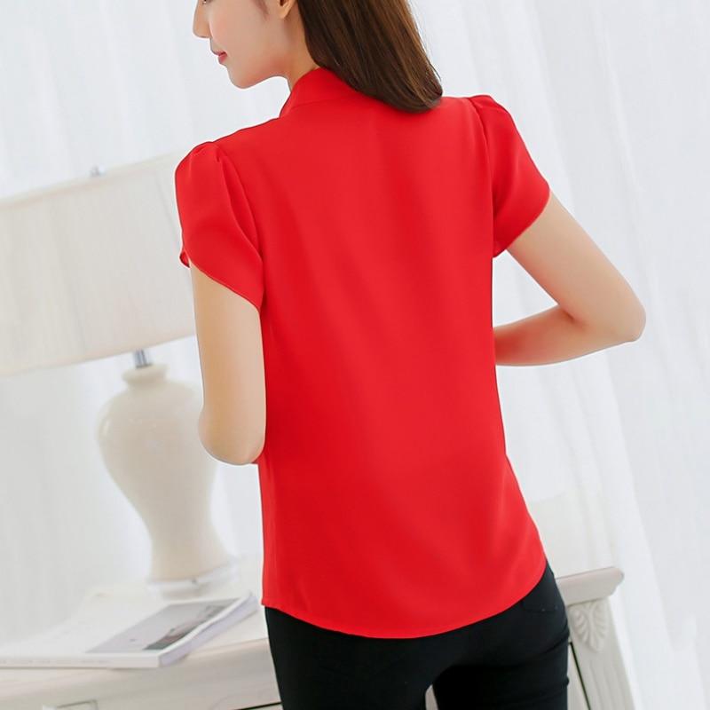 rojo 3xl Más Tamaño rosado Tops Azul Mujer Manga Blanca Ocio Corta Primavera Camisa Moda verano Blusa De blanco Grandes Gasa Tamaños 2017 qBExHxwRI