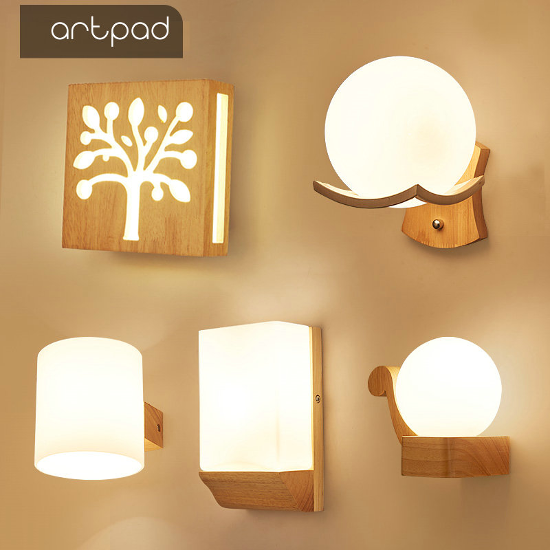 Artpad Scandinavian Nordic Wall Wood Light Glass Lampshade Corridor Balcony Bedside LED Side Wall Lamps Interior for Home Decor in LED Indoor Wall Lamps from Lights Lighting