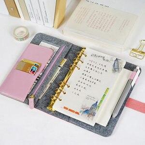 Image 2 - Японский персональный ежедневник из фетра с желтым кольцом для путешествий, офисная тетрадь, милый ежедневник, A5, A6