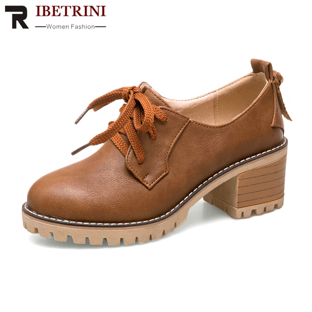 RIBETRINI 2018 Spring Autumn Solid School Pumps Women Large Size 34-43 Platform Shoes Woman lace-up High Heels Women Shose
