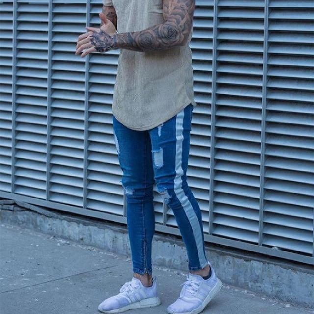 Skinny Jeans Men Hip Hop Stripe Elastic Slim Fit Denim Pants Male Stretchy Pencil Bottoms street Knee Ripped Holes Jeans 5