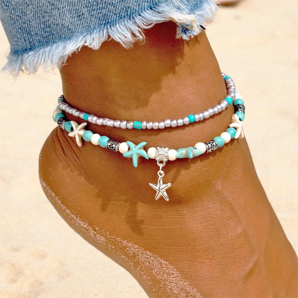 Vienkim 2018 New Fashion Retro Bohemia Round Rune Starfish Anklet Beach Feet Jewelry Simple Anklet