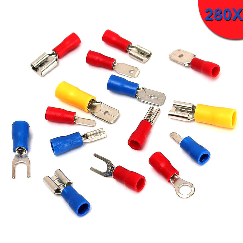 New 280Pcs Assorted F/M Crimp Connectors Spade Terminal Insulated Electrical Wire Connector Kit Set hopping  ALI88 1200 pcs mixed assorted lug kit insulated electrical wire connector crimp terminal spade ring set box 893g