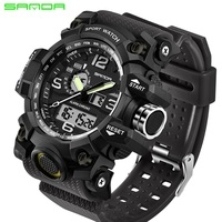 2018 SANDA Sports Watches Men Military Army Watch Top Brand Luxury Date Calendar LED Digital Wristwatches