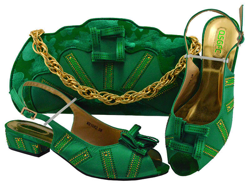 Italian Match Shoes and Bag Set Dark green Color Italy Shoe and Bag Set Decorated with Rhinestone African Women Italian MM1082