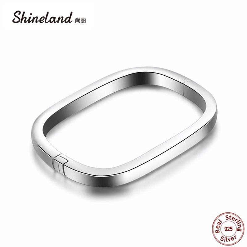 Shineland Hot Sale Authentic 100% 925 Sterling Silver Square Bangle Bracelet for Women Men Punk Statement Pulseras de Prata Gift