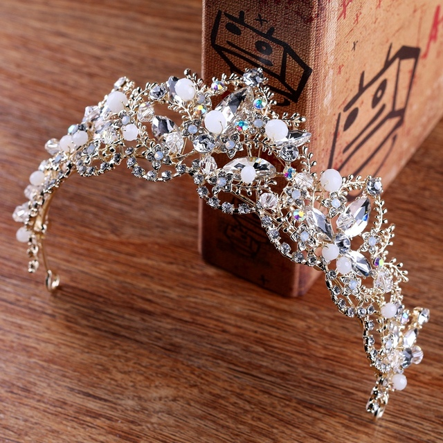 Baroque Luxury Crystal AB Bridal Crown Tiaras Light Gold Diadem Tiaras for Women Bride Wedding Hair Accessories 4