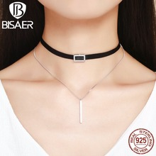 Authentic 100% 925 Sterling Silver Black Lace Choker Link Chain Short Sexy Gothic Necklace Women Femme Collar Fashion Jewelry