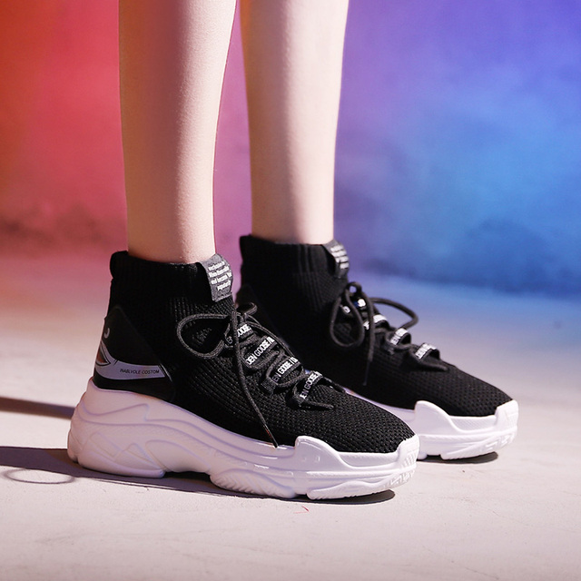 2e6a1088585e High Top Men Women Sneakers 5 Cm Thick Sole Sock Shoes Knit Vamp Breathable  Dad Sneaker Shoes White Black Hidden Heel Shoe Mujer
