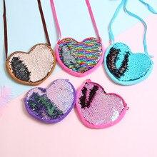 Cute Kids Sequin Coin Purse Love Shape Zipper Wallet Crossbody Bag Coin Cellphone Pouch Glittering Purse For Girls Gift