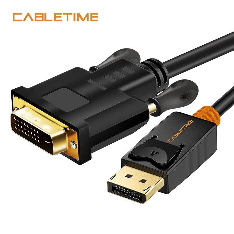 Cabletime Display Port auf Dvi-kabel Stecker-stecker DisplayPort DP zu DVI Anschluss Adapter 1080 P 3D für HDTV PC Projektor N080
