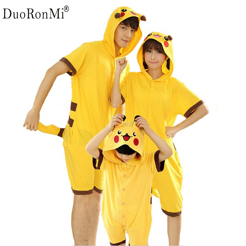 2017 Summer Family Matching Clothes Unisex Adults Kid Short Sleeve Cotton Anime Onesie Halloween Pijamas Cosplay Panda Sleepwear ...