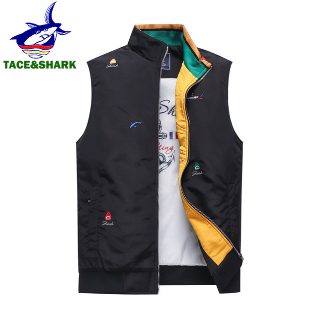 bdca8f7b63 TACE SHARK Brand Top 2018 Winter Business Casual Sleeveless Shark  Embroidery Vest Tank Men s Jacket Vest Coat Homme