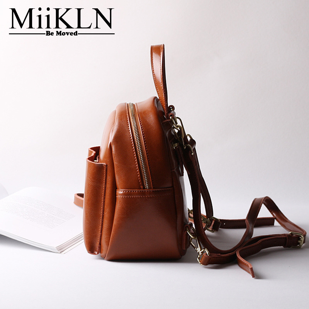 MiiKLN Small Backpack For Women Black Pink Brown Coffee Genuine Leather Female Backpack Solid Fashion Travel Back Pack